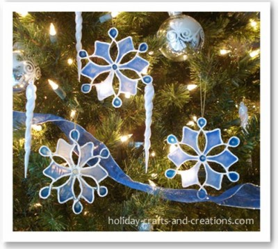 Stained Glue Snowflake Ornaments