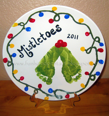 Footprint Mistletoes Decorative Plate