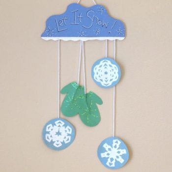 mitten and snowflake mobile