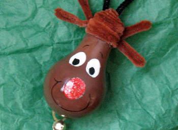 Light Bulb Rudolph Ornament