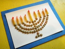 Macaroni Menorah for Hanukkah