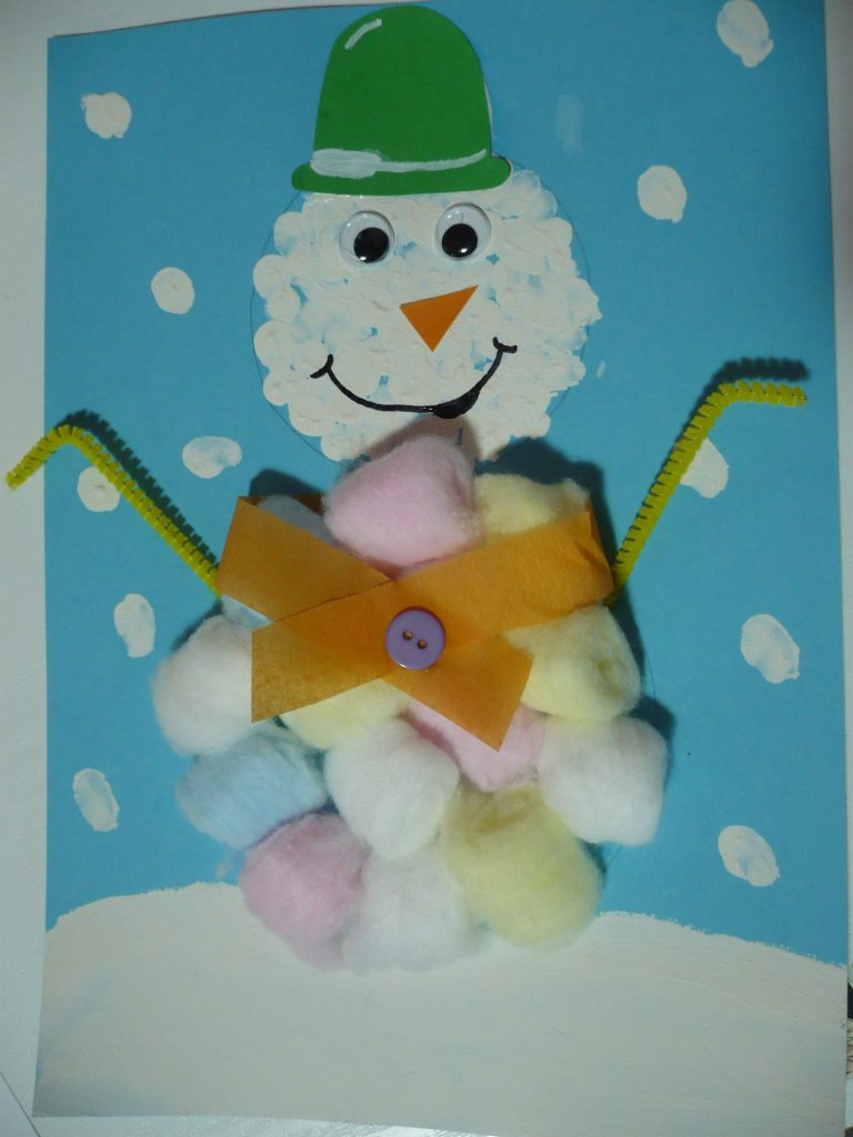 Cotton Ball Snowman