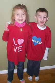 Stenciled Valentine's Day Shirts