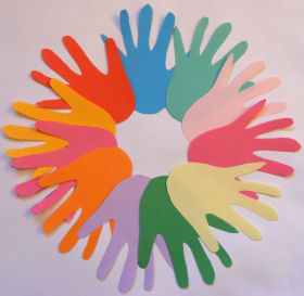 Multi-Colored Hand Print Wreath