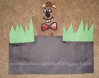 Peek-A-Boo Handprint Groundhog