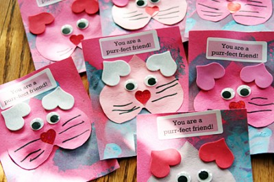 Purrfect Kitty Valentine – Construction Paper Valentine Cards
