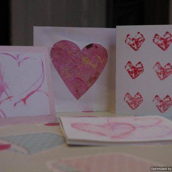 Cork Stamped Valentines Cards
