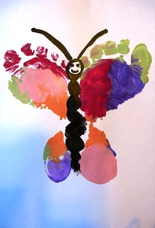 Butterfly foot prints fun family crafts for Butterfly hands craft
