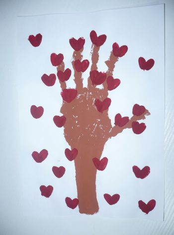 Handprint Tree of Hearts