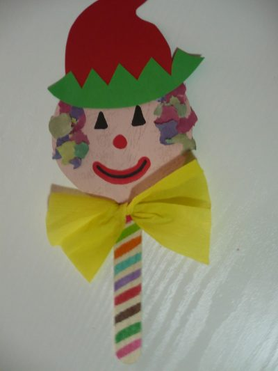 Craft Stick Clown Puppet