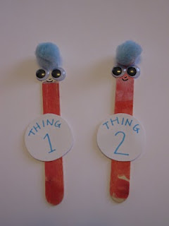 Thing 1 & Thing 2 Craft Stick Puppets