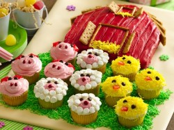 Barn Cake with Farm Animal Cupcakes
