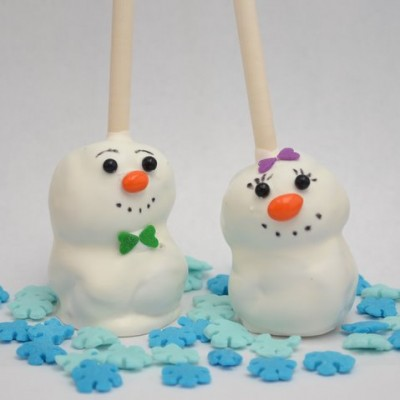 Brownie Snowmen on a Stick