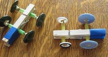 Clothespin Button Racers