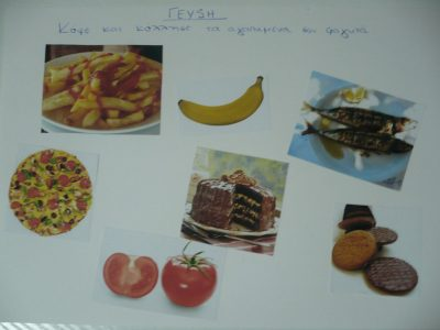 """Five Senses Activity: A Collage of """"Tastes"""" When teaching """"taste"""", one of the 5 senses, hand your child a stack of magazines and have them cut out pictures of food that pertain to sweet, salty, bitter...etc. Create a collage with the labels and pictures."""
