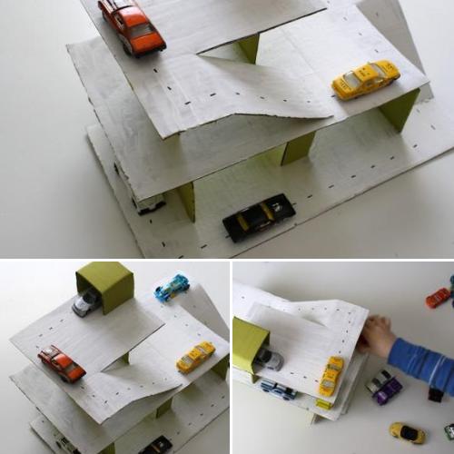 Гараж для машинок из картонной коробки