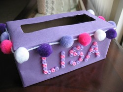 Pom Pom Tissue Box Valentine Holder
