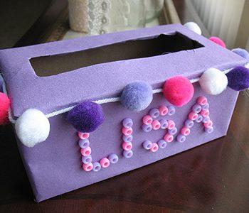Pom Pom Tissue Box Valentine Holder