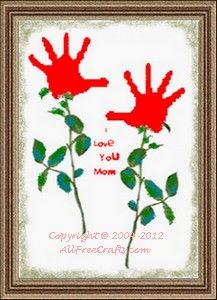 Valentine Handprint Flower Scroll