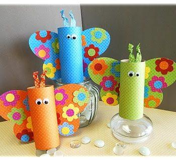 Colorful Cardboard Tube Butterflies