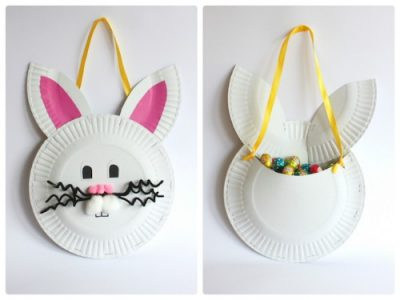paper plate Easter bunny treat bag