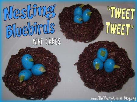Nesting Blue Birds Mini Cakes