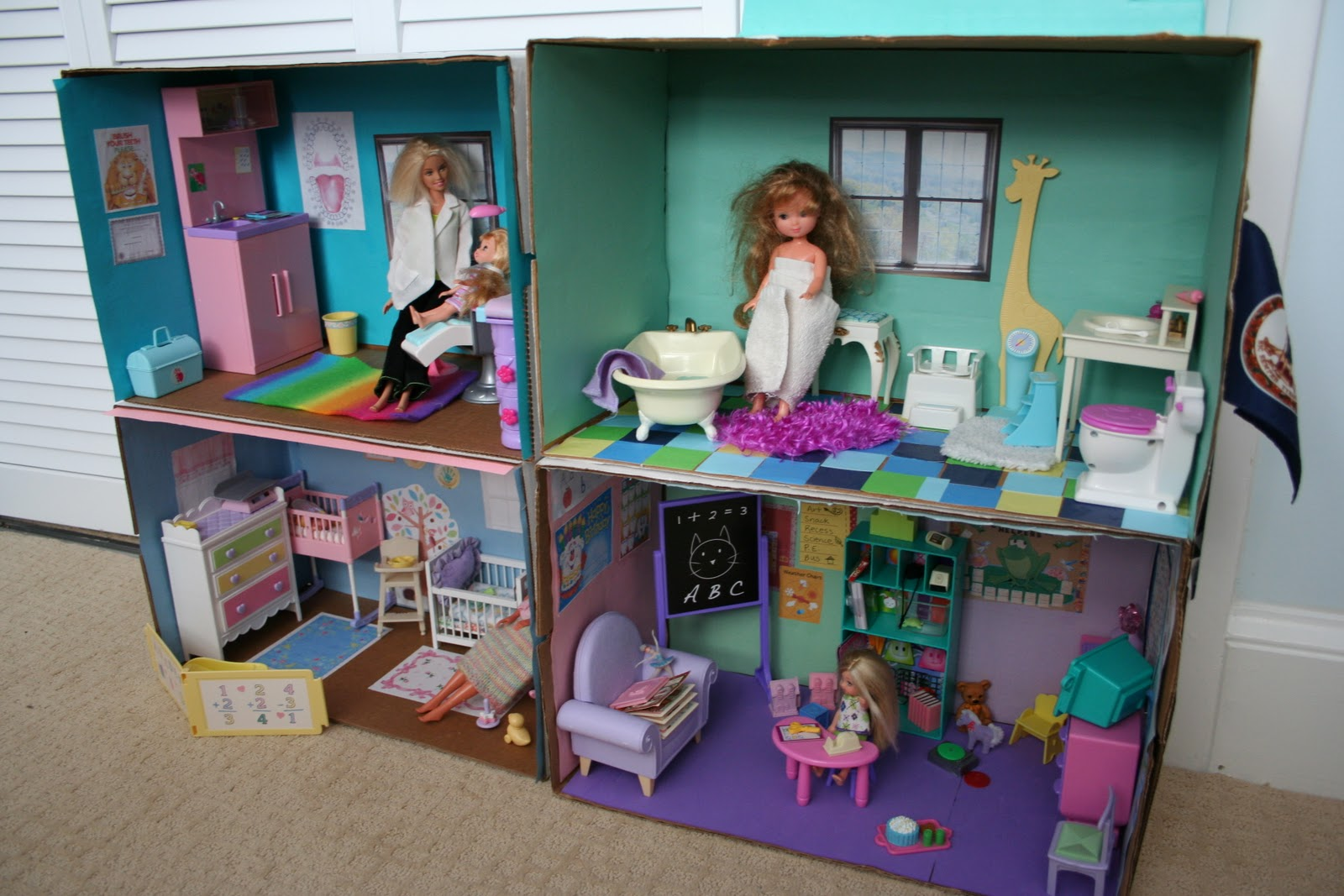 Barbie box house fun family crafts for Making hut with waste material