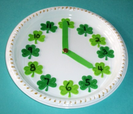 Shamrock Paper Plate Clock Fun Family Crafts