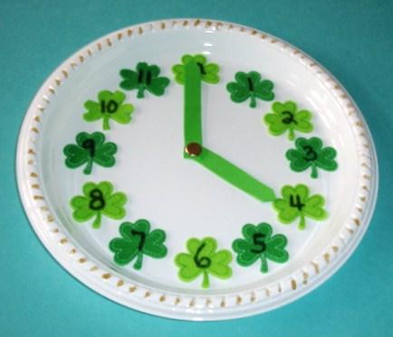 Shamrock Paper Plate Clock Fun Family Crafts