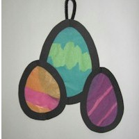 Faux Stained Glass Tissue Paper Easter Eggs
