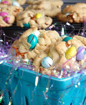 Pretzel and M&M Peanut Butter Cookies