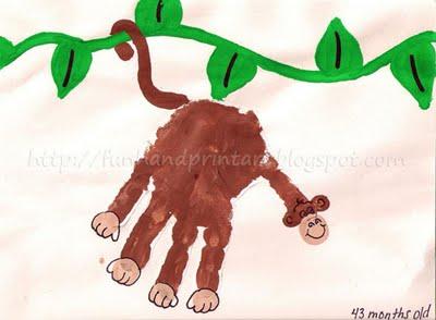 Handprint Monkey on a Vine