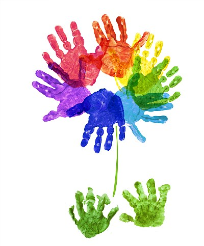 Rainbow Handprint Flower