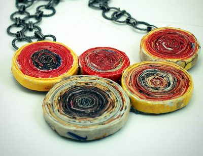 Recycled Magazine Rosette Necklace