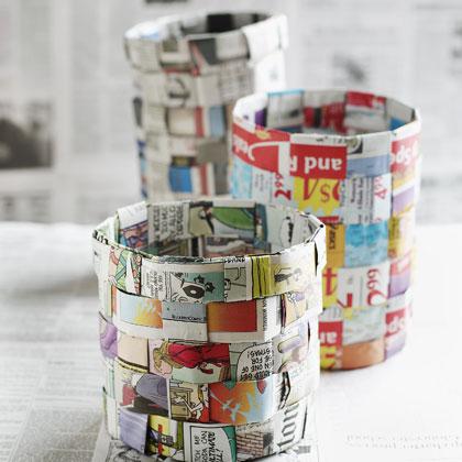 Easy Weave Newsprint Baskets