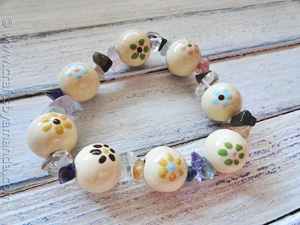 Flower Bracelet from Wooden Beads