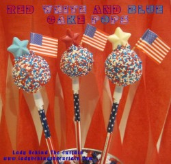 Red, White and Blue Cake Pops