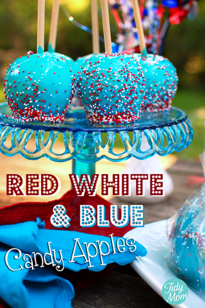 Red, White and Blue Candy Apples