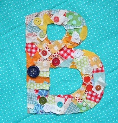 monogrammed fabric scrap letters fun family crafts