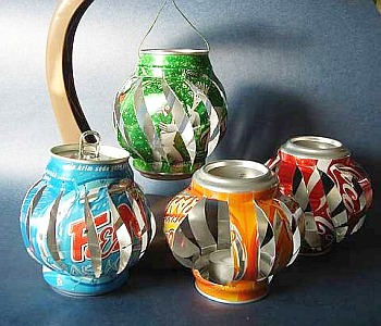 Cool lanterns made from recycled soda cans. A frugal craft that teens ...