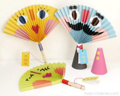 Funny Face Paper Fans