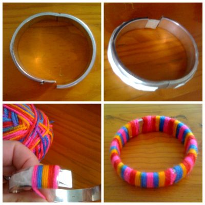 Wrap an old bangle in rainbow wool to turn it into a new bangle! Find ...