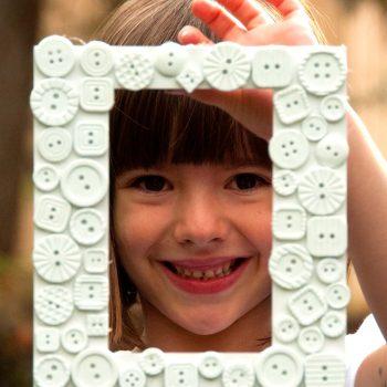 White Button Picture Frame
