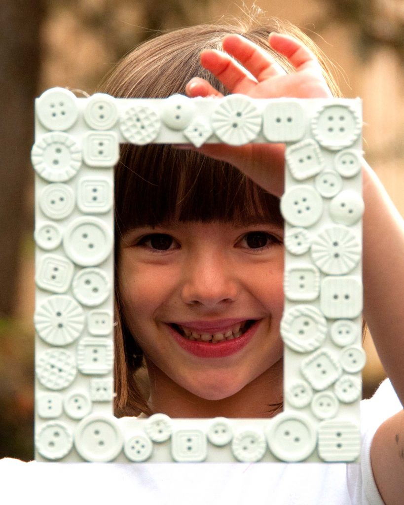 White Button Picture Frame