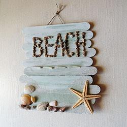 Craft Stick Beach Plaque