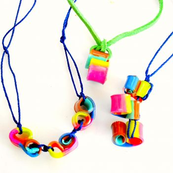Shrink Plastic Curly Bead Necklaces