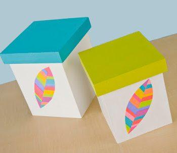 Neon Feather Storage Boxes
