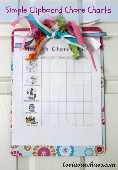Clipboard Chore Charts