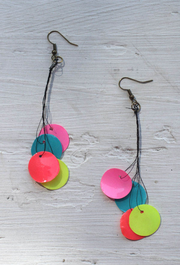 Neon Paper Bead Earrings