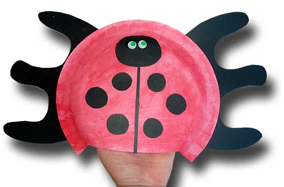 Paper Plate Ladybug Hand Puppet
